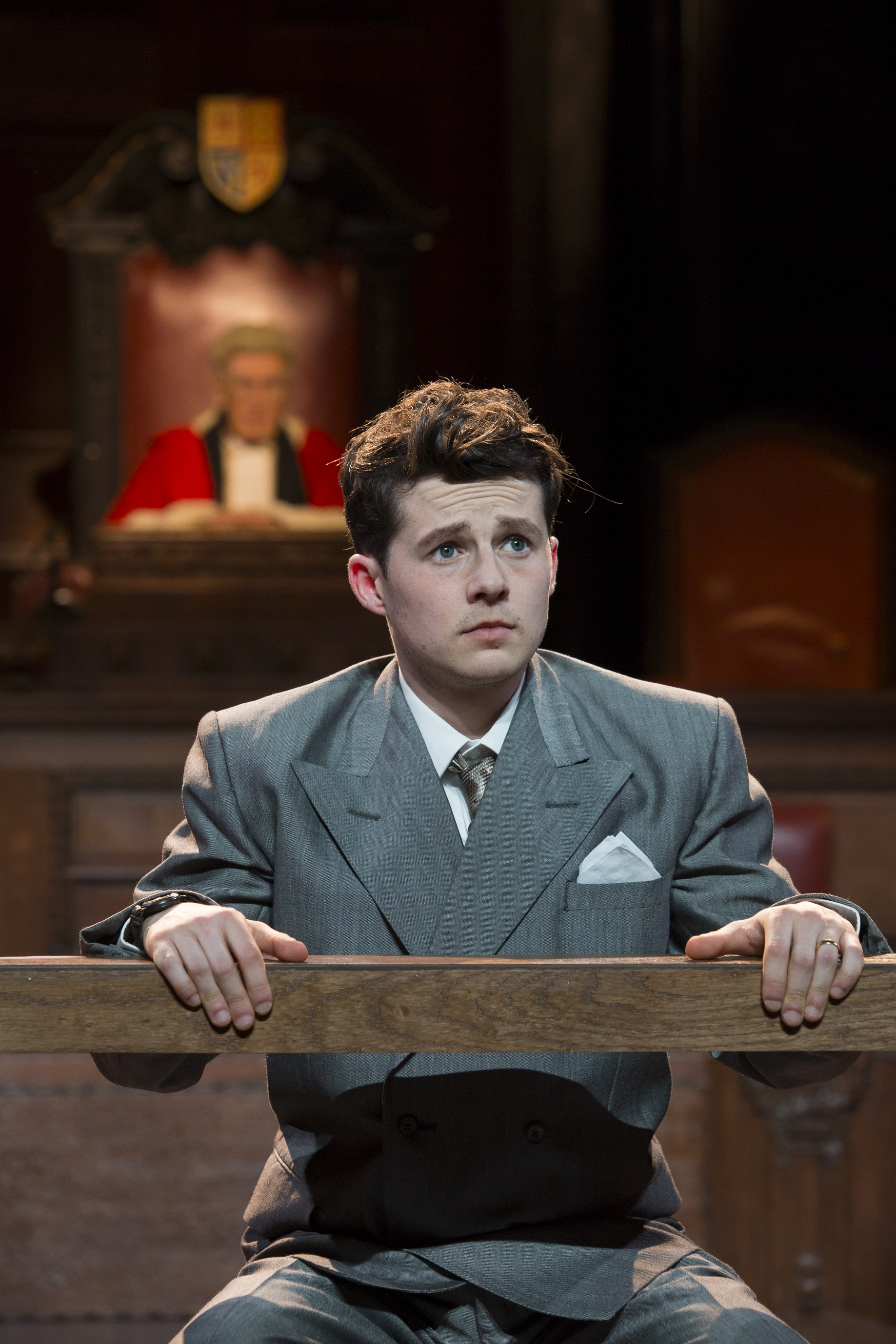 1 Harry Reid as Leonard Vole in Witness for the Prosecution at London County Hall Credit Ellie Kurttz
