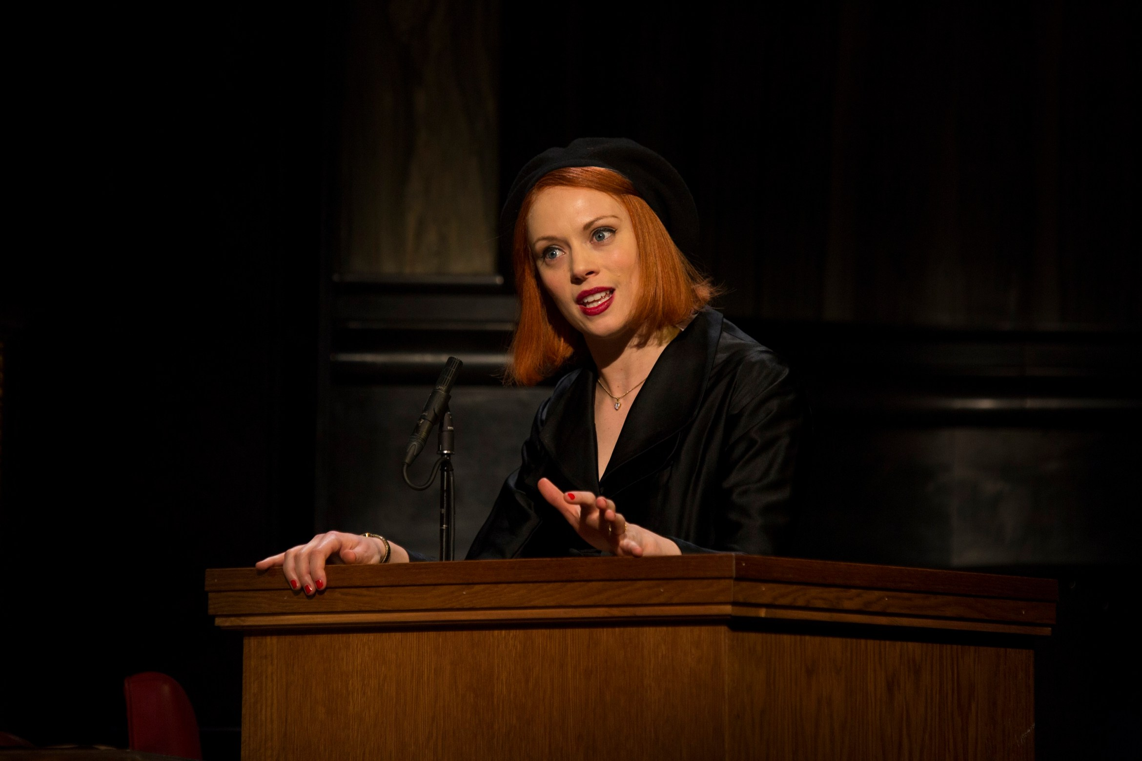 9 Lucy Phelps as Romaine in Witness for the Prosecution at London County Hall Credit Ellie Kurttz.jpg