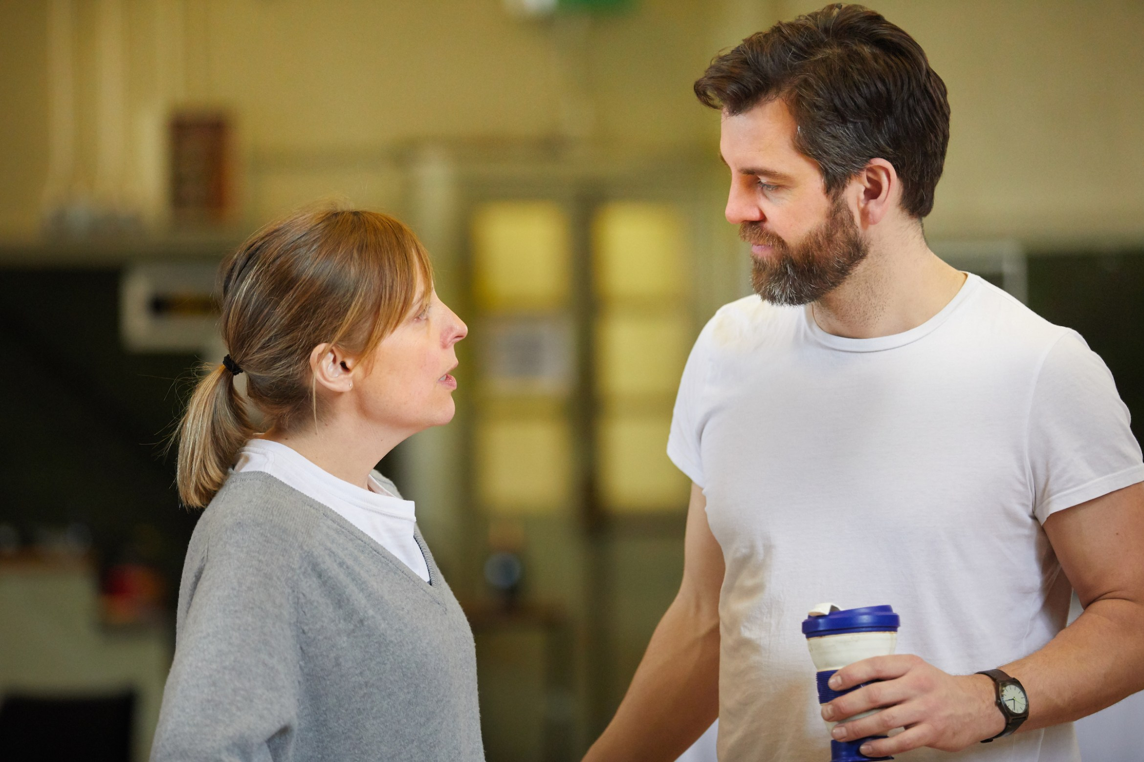 Much Ado About Nothing at Rose Theatre Kingston. Mel Giedroyc (Beatrice) & John Hopkins (Benedick). Credit - Mark Douet. 1.jpg