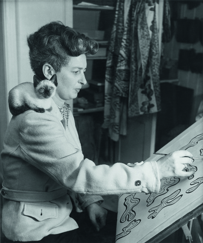 Photo of Enid Marx working on a textile design, post-1945 © Estate of Enid Marx