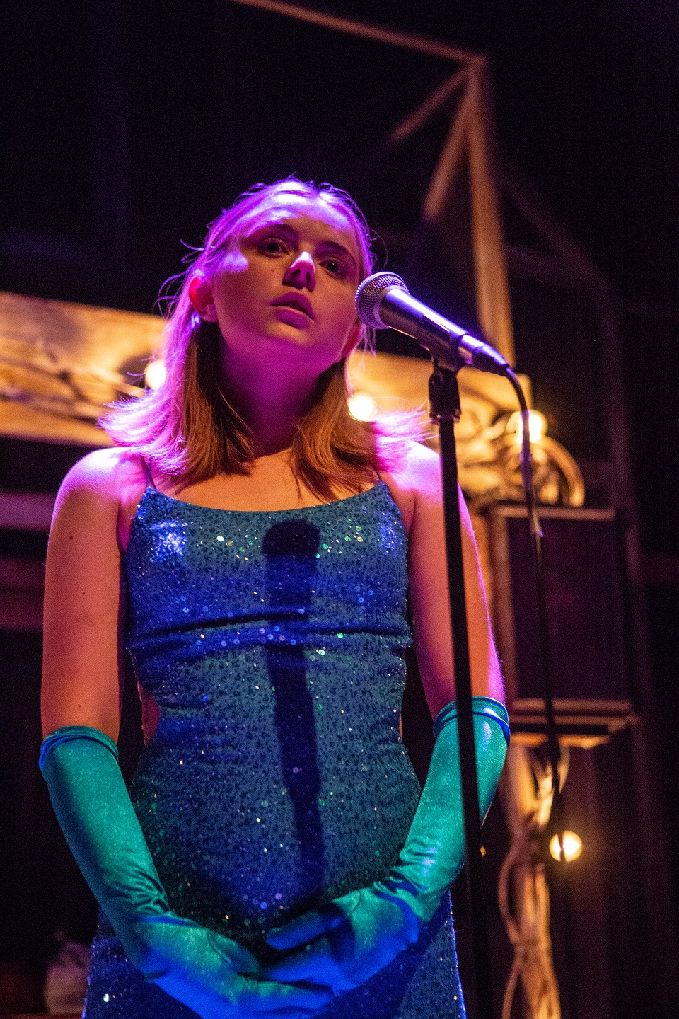 Rafaella Hutchinson in The Rise and Fall of Little Voice at Park Theatre. Photo by Ali Wright-136