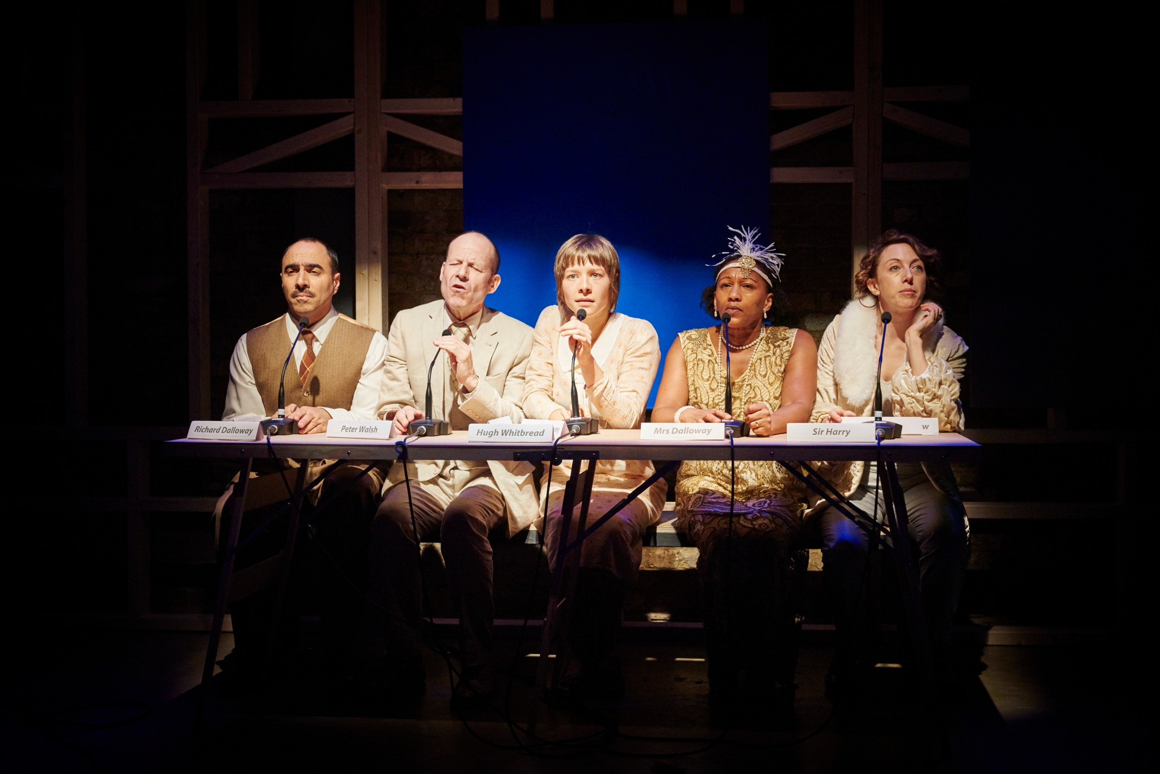 Sean Jackson (Peter), Guy Rhys (Septimus), Emma D'Arcy (Rezia), Claire Perkins (Clarissa) and Clare Lawrence Moody (Sally) (c) Ollie Grove.jpg