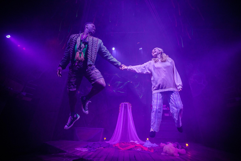 Nickcolia King-N'Da (Peter Pan) and Rosemary Boyle (Wendy) in Peter Pan at Park Theatre. Photo credit - Chris Gardner.jpg