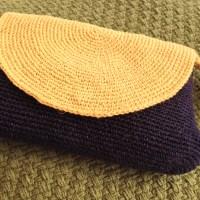 Crochet linen purse