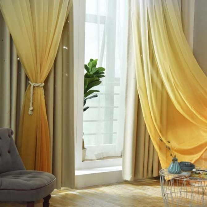 stars block out yellow curtains