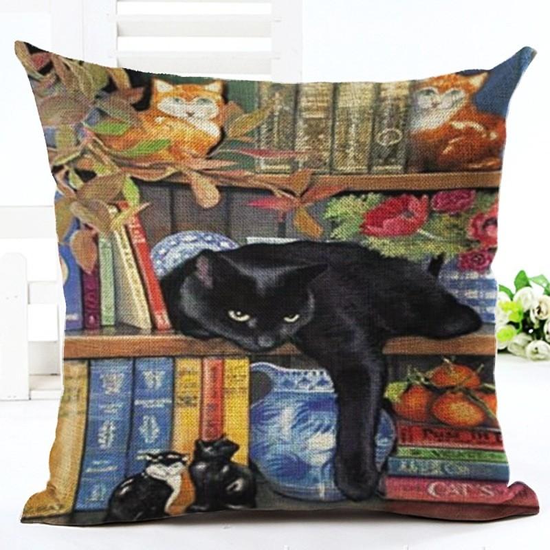 black cat on book shelf cushion cover