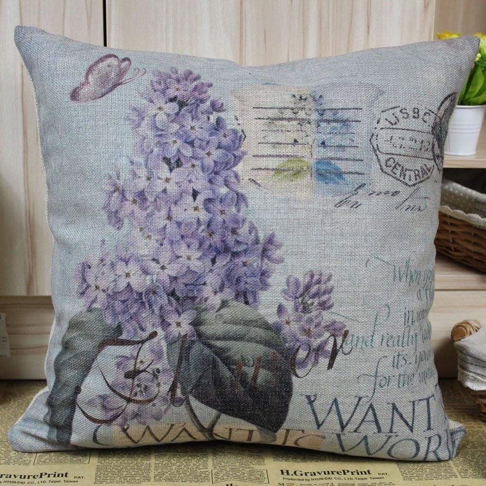 Vintage Purple Lilac Flower Cushion Cover