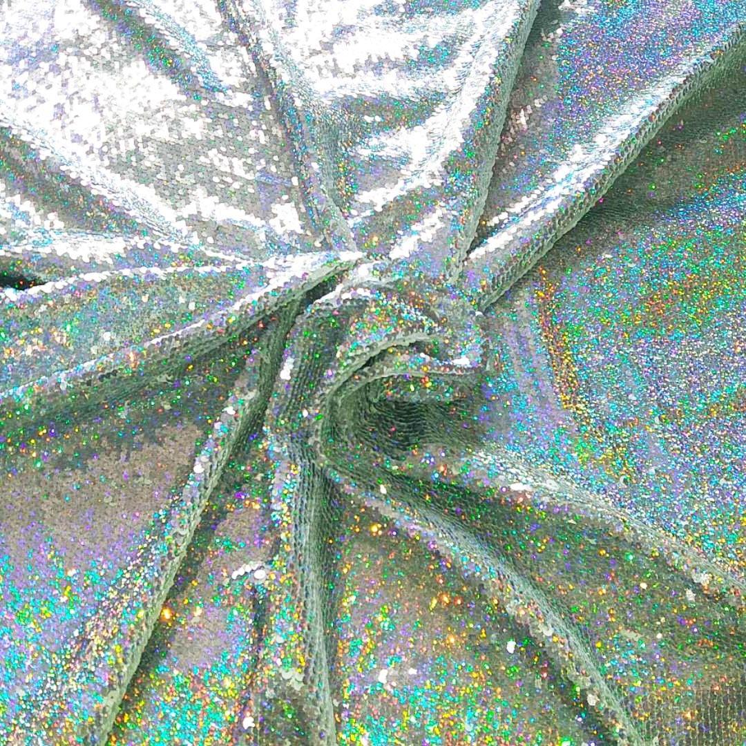 Rainbow Silver Holographic Iridescent Fabric