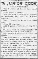 Clam Chowder Recipe 1920 Apr 18 - The Nebraska State Journal