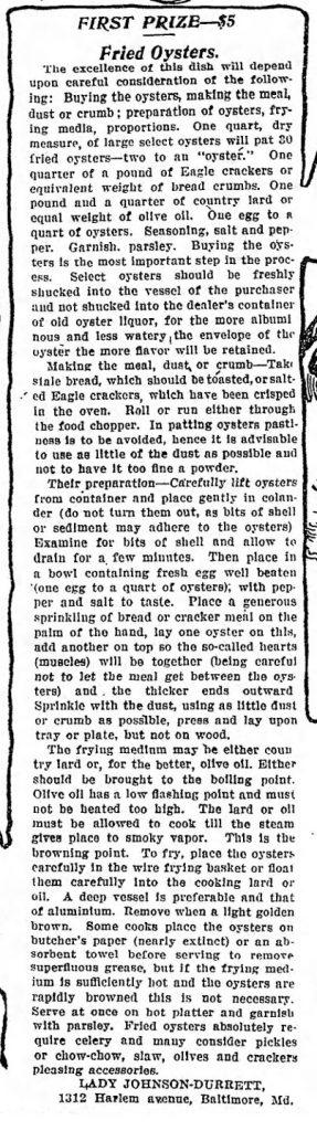 The Baltimore Sun 1911 Recipe Contest Oyster Winner