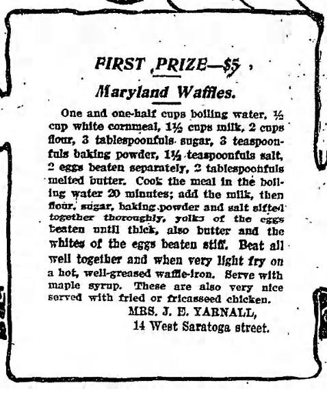 Maryland Waffles Recipe