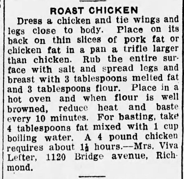 Mrs. Lefter's Roast Chicken Recipe