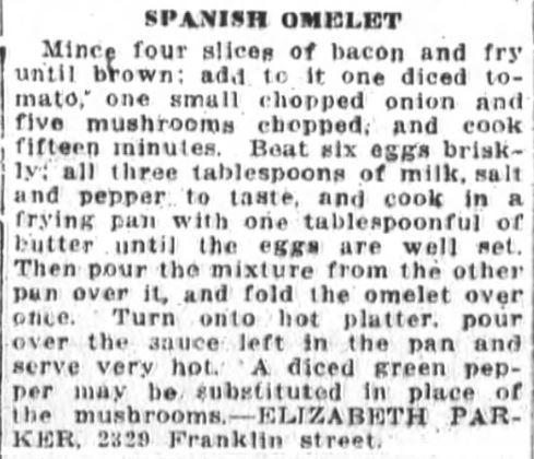 Mrs. Parker's Spanish Omelet Recipe