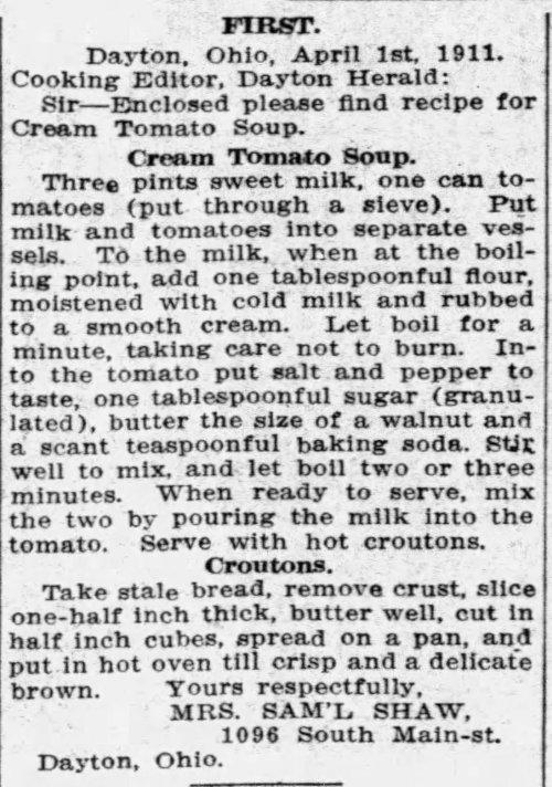 Mrs. Shaw's Creamy Tomato Soup Recipe