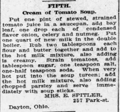 Mrs. Spitler's Cream of Tomato Soup Recipe