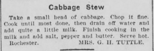 Mrs. Tuttle's Cabbage Stew Recipe