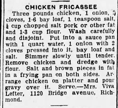 Mrs. Lefter's Chicken Fricassee Recipe