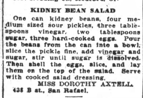 Miss Axtell's Kidney Bean Salad Recipe