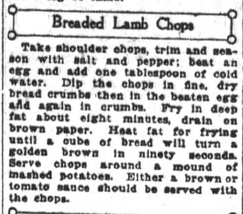 Mrs. Belle De Graf's Bread Lamb Chops