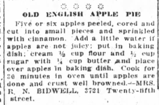 Mrs. Bidwell's Old English Apple Pie