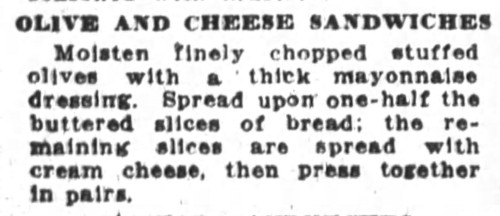 Mrs. De Graf's Olive and Cheese Sandwiches Recipe