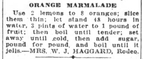 Mrs. Haggard's Orange Marmalade Recipe