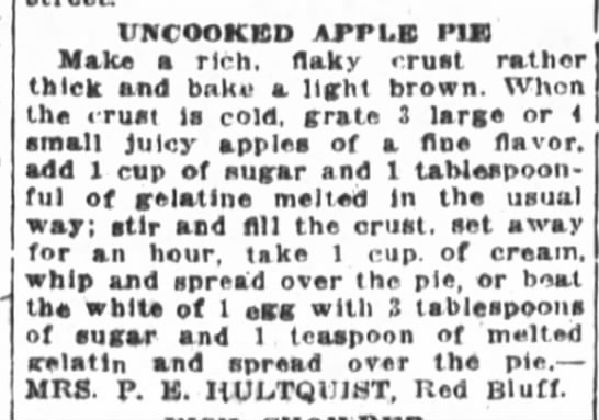 Mrs. Hultquist's Uncooked Apple Pie