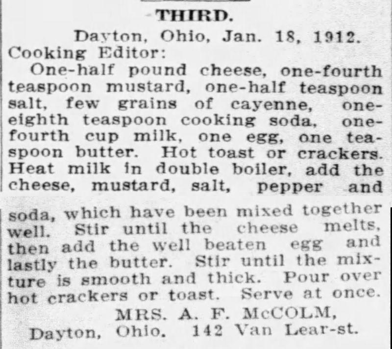 Mrs. McColm's Welsh Rarebit