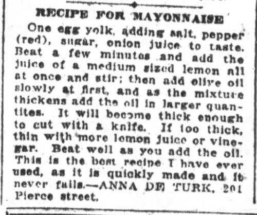 Mrs. De Turk's Mayonnaise