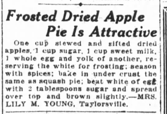 Mrs. Young's Frosted Dried Apple Pie