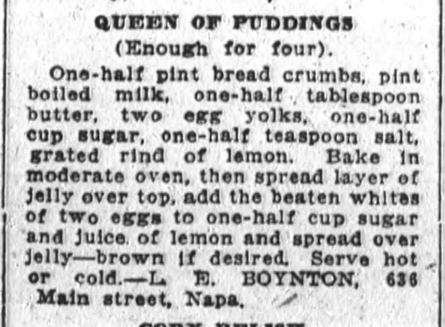 Ms. Boynton's Queen of Puddings Recipe