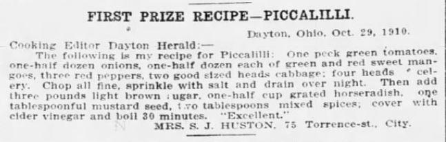 Mrs. Huston's Piccalilli Recipe