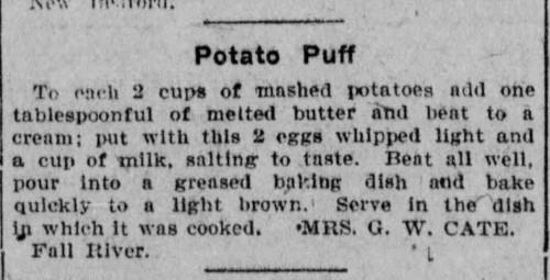 Mrs. Cate's Potato Puff Recipe