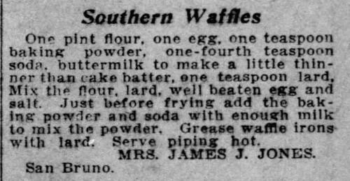 Mrs. Jones' Southern Waffles Recipe