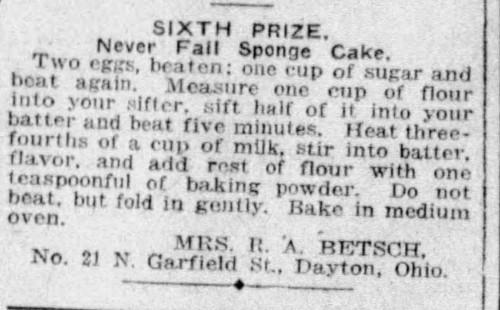 Mrs. Betsch's Never Fail Sponge Cake Recipe