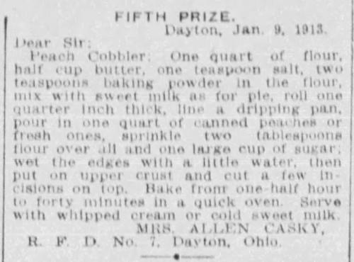 Mrs. Casky's Peach Cobbler Recipe