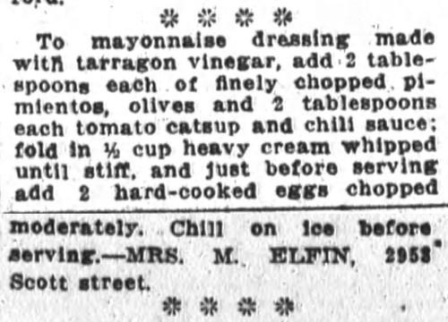 Mrs. Elfin's Thousand Island Dressing Recipe