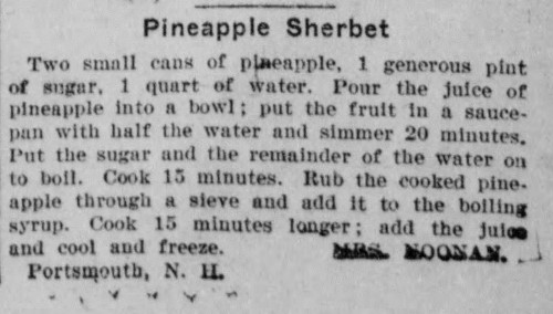Mrs. Nooman's Pineapple Sherbet Recipe