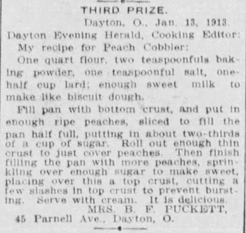 Mrs. Puckett's Peach Cobbler Recipe
