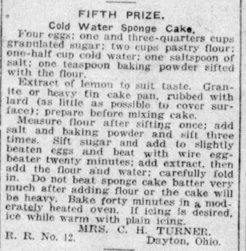 Mrs. Tuner's Sponge Cake Recipe