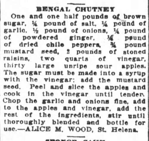Ms. Wood's Bengal Chutney Recipe