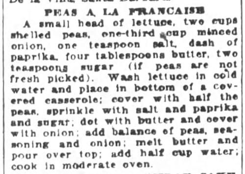 Ms. Corfu's Peas A La Francaise Recipe
