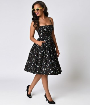 bernie_dexter_1950s_style_black_wonderdot_paris_cotton_swing_dress_1
