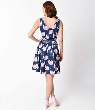 1950s_style_navy_blue_retro_cat_print_sleeveless_flare_tea_dress