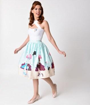 unique_vintage_1950s_pastel_beauty_salon_high_waist_circle_swing_skirt_3