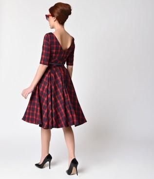 vintage_style_red_navy_blue_tartan_plaid_half_sleeve_hepburn_swing_dress_3
