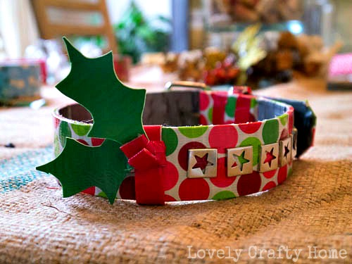 holly sprig dog collar using duck tape