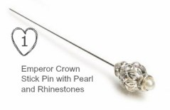 Emperor Crown Stick Pin with Pearl and Rhinestones