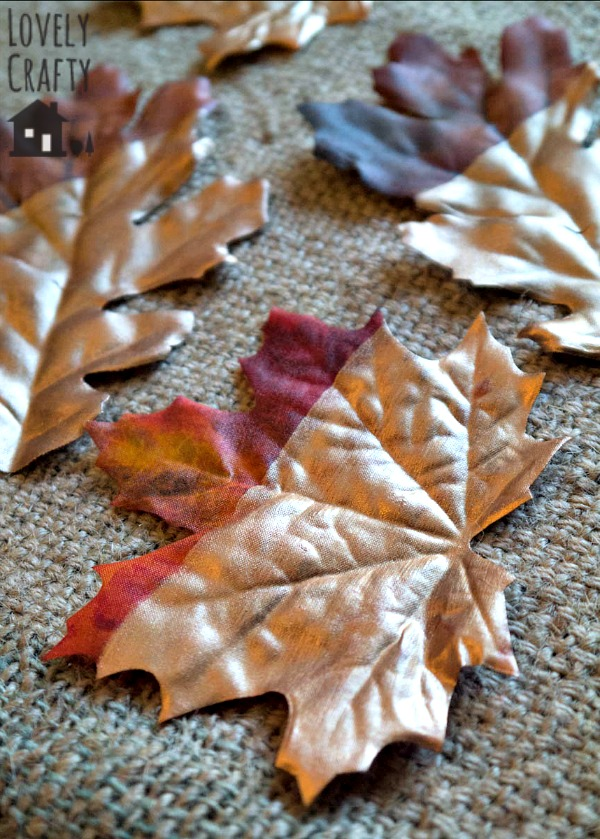 copper-painted-faux-leaves