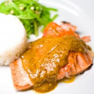 Slow Roasted Salmon With Peanut Curry Sauce And Snap Pea Slaw